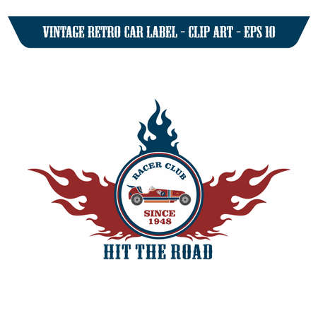 oude autos: raceauto retro-label