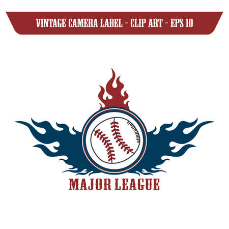 baseball ball fire label Vector