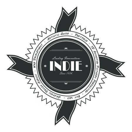 indie: indie label art ribbon Illustration