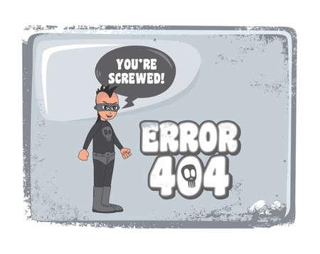 punk villain error page 404 Vector