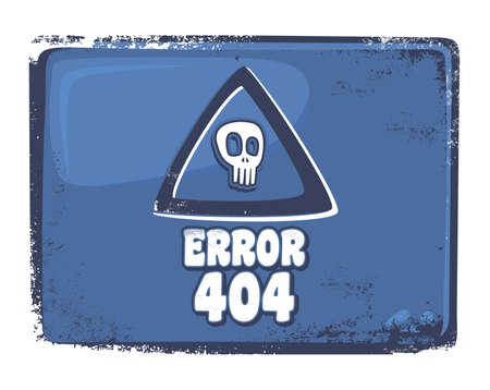 blue skull error 404 Vector