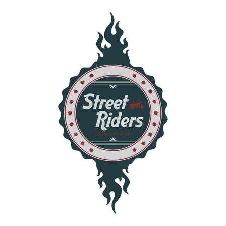ストリート チョッパー ライダー ラベル炎