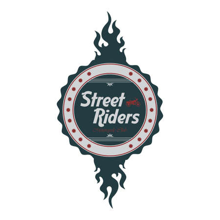 street chopper rider label flame