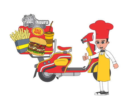 fastfood fries scooter Vector