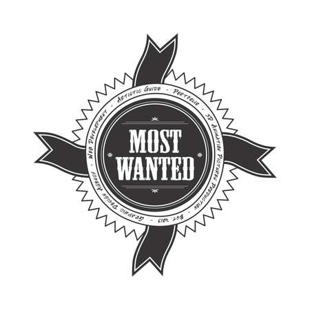 most wanted label Vector