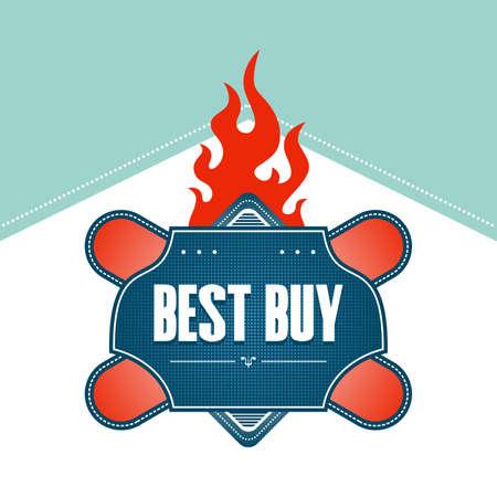best buy label fire Stock Illustratie