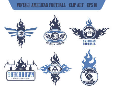 american football fire label set Vector