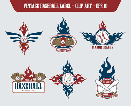 baseball fire label art set Vector