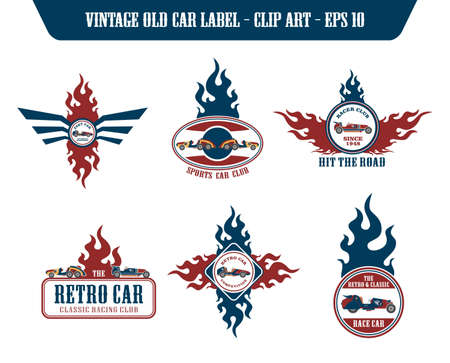 retro car fire label set Vector