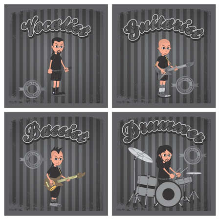 band boys cartoon set Vector