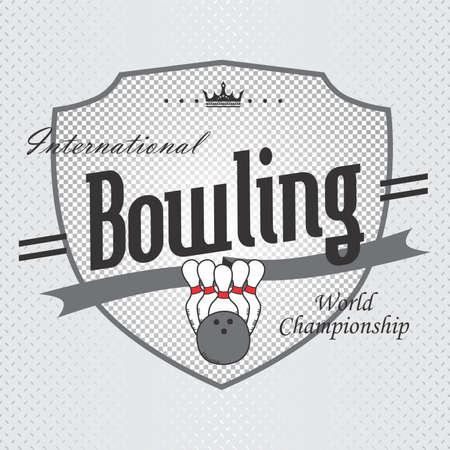 bowling label Vector