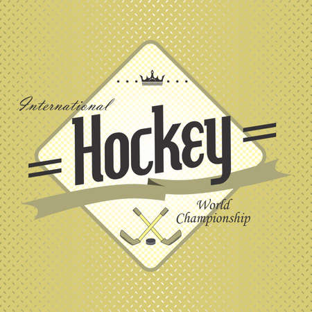 hockey label Vector