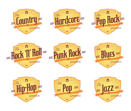music genre label emblem set Vector