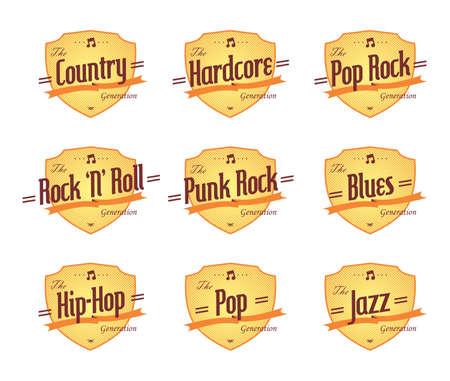 genre: music genre label emblem set