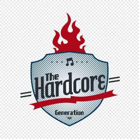 hardcore: hardcore fire label Illustration