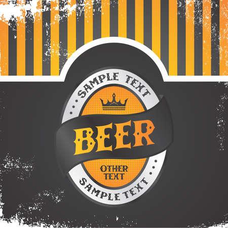 orange beer label vintage Illustration