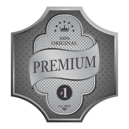 premium steel label Vector