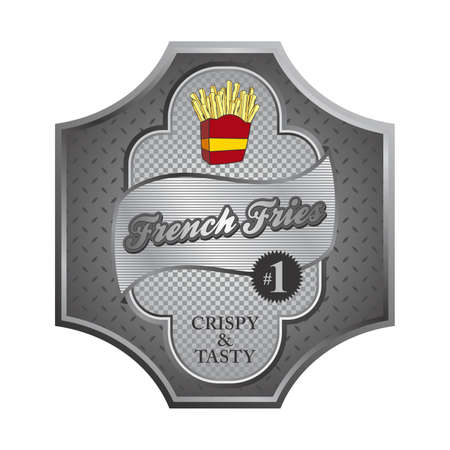 french fries plate Vector