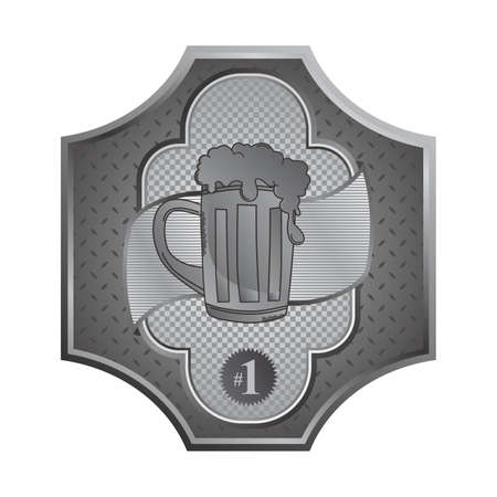 beer silver plate Vector