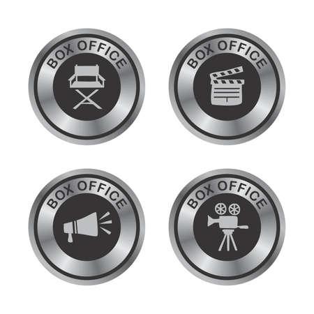 movie silver button Vector