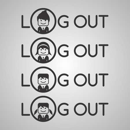log out: log out avatar Illustration