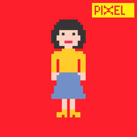 pixel woman cartoon Vector