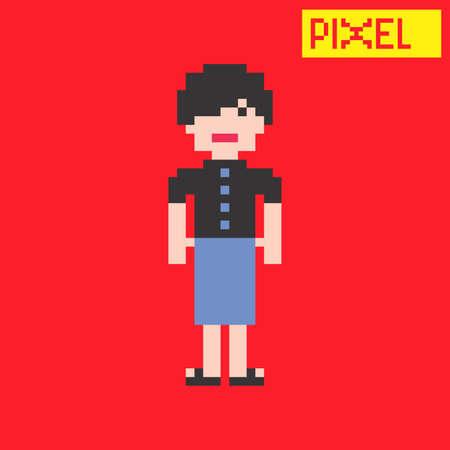 pixel woman cartoon Vector