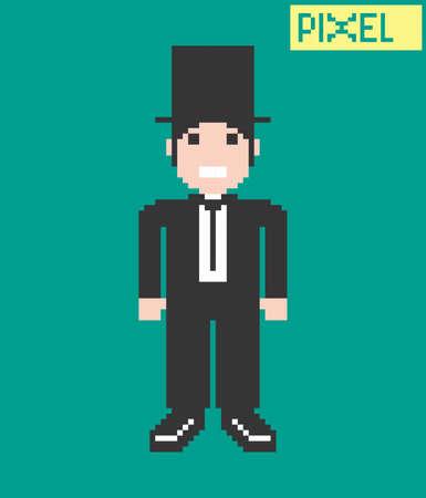 pixel guy cartoon Vector