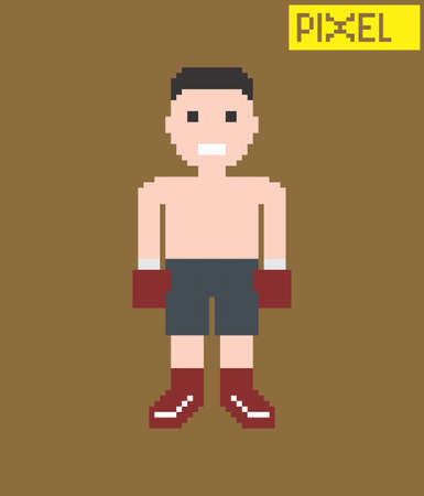 pixel guy cartoon Vector