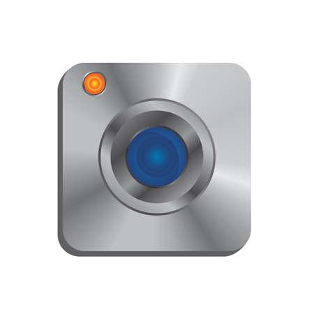 silver theme camera icon Vector