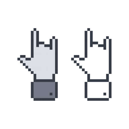 rock pixel hand Vector