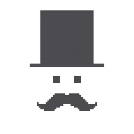 pixel art guy mustache Vector