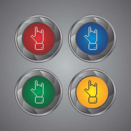 hand gesture set button Stock Vector - 23441669