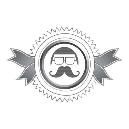 bigodes: arte cara bigodes Ilustração