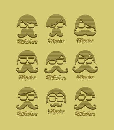 mustache guy vintage set Stock Vector - 24492194