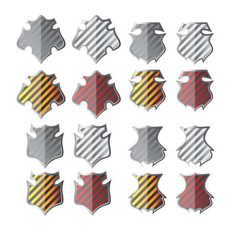 color stripe shield set Vector