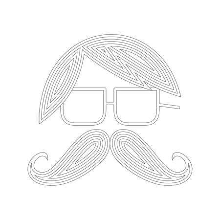 bigodes: bigodes avatar bolha Ilustração