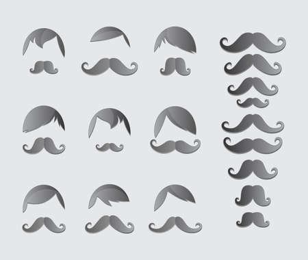 mustache whiskers guy theme set