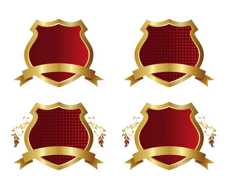 golden red shield Vector