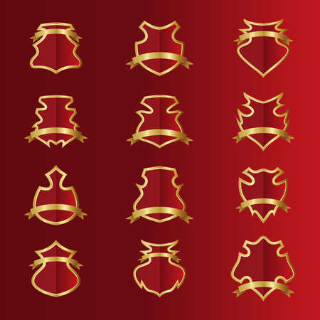 red gold shield set Vector