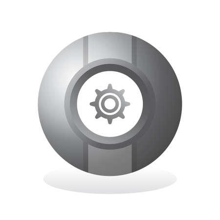 silver sphere icon button Vector