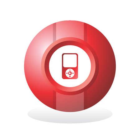 red sphere: sfera rossa icona pulsante