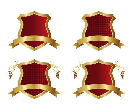 golden red art shield