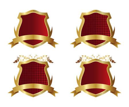 赤い金盾  イラスト・ベクター素材