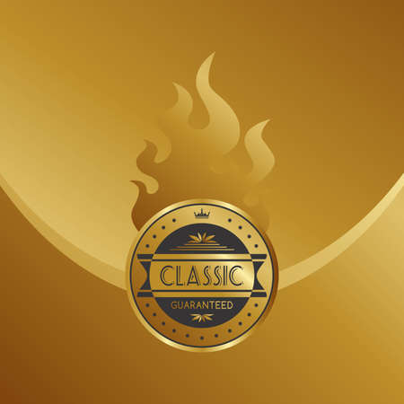 gold fire label Vector