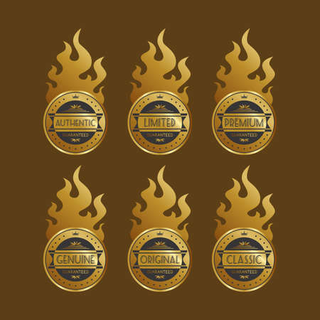 golden fire labels Vector