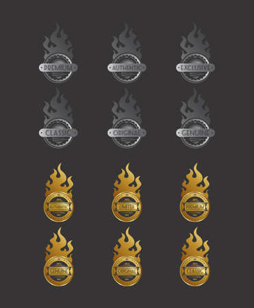 fire theme sticker label Vector