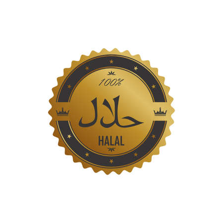 halal golden label Vector