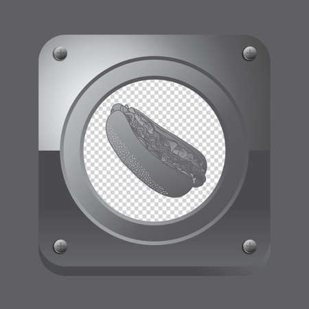 fast food silver button Vector