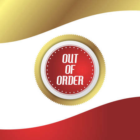 out of order: out of order sticker button label
